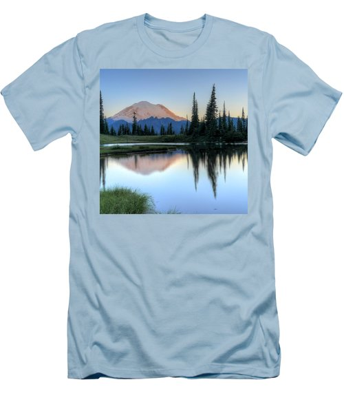 Rainier From Tipsoo Men's T-Shirt (Slim Fit) by Peter Mooyman