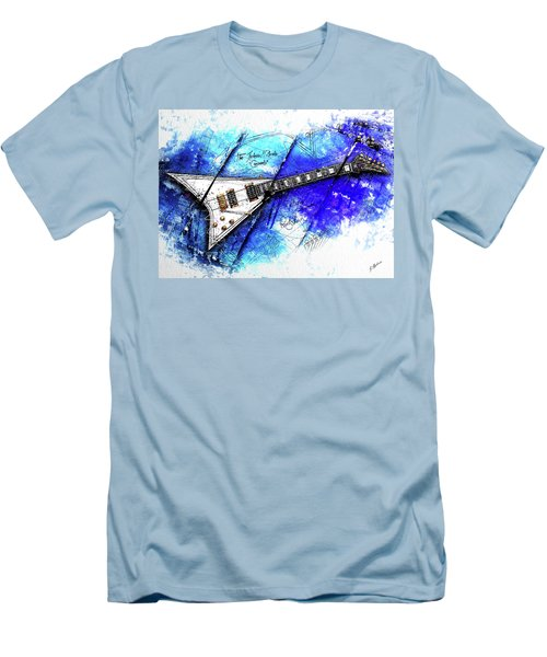 Randy's Guitar On Blue II Men's T-Shirt (Slim Fit) by Gary Bodnar