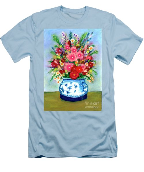 Red And Pink Rose Flower Garden Still Life Painting 615 Men's T-Shirt (Athletic Fit)