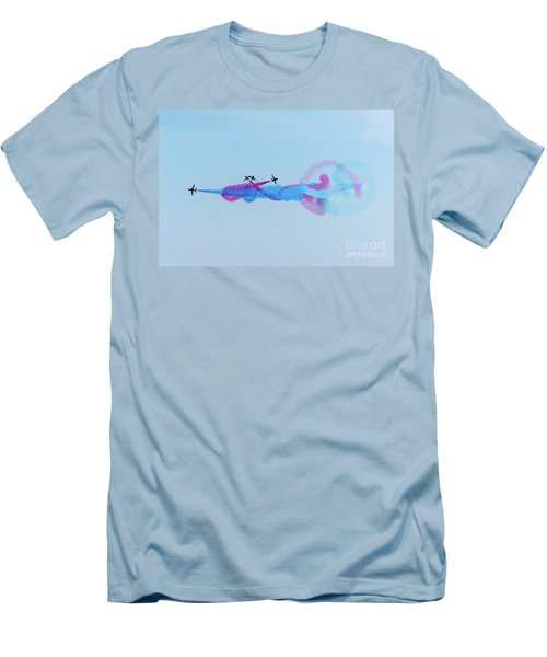 Men's T-Shirt (Athletic Fit) featuring the photograph Red Arrows Break by Gary Eason