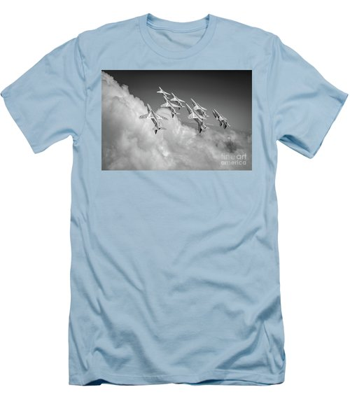 Men's T-Shirt (Athletic Fit) featuring the photograph Red Arrows Sky High Bw Version by Gary Eason