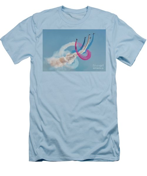 Men's T-Shirt (Athletic Fit) featuring the photograph Red Arrows Twister by Gary Eason
