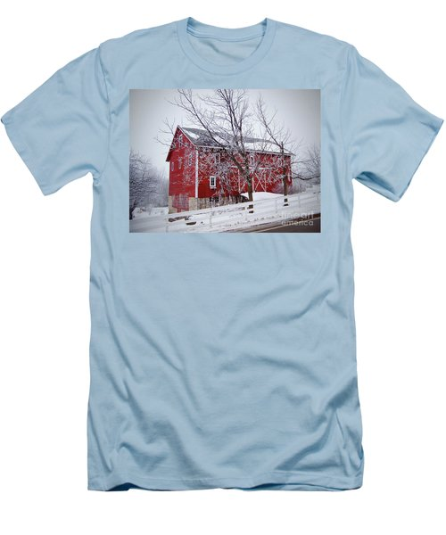 Red Barn Circa 1876 Men's T-Shirt (Slim Fit) by Sue Stefanowicz