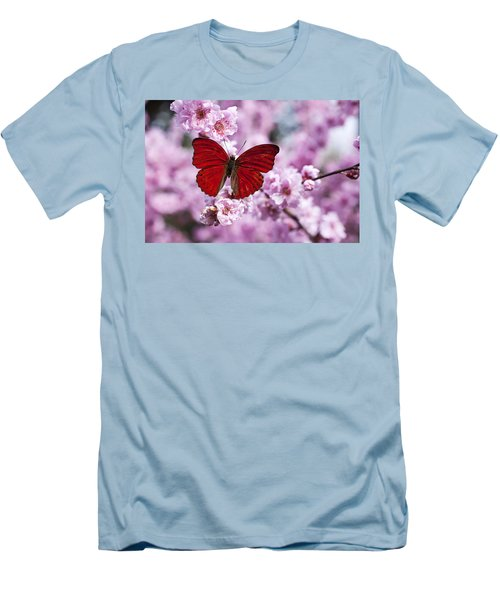 Red Butterfly On Plum  Blossom Branch Men's T-Shirt (Athletic Fit)