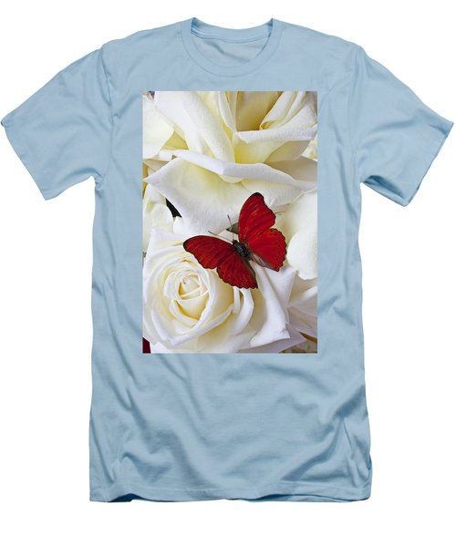 Red Butterfly On White Roses Men's T-Shirt (Slim Fit) by Garry Gay