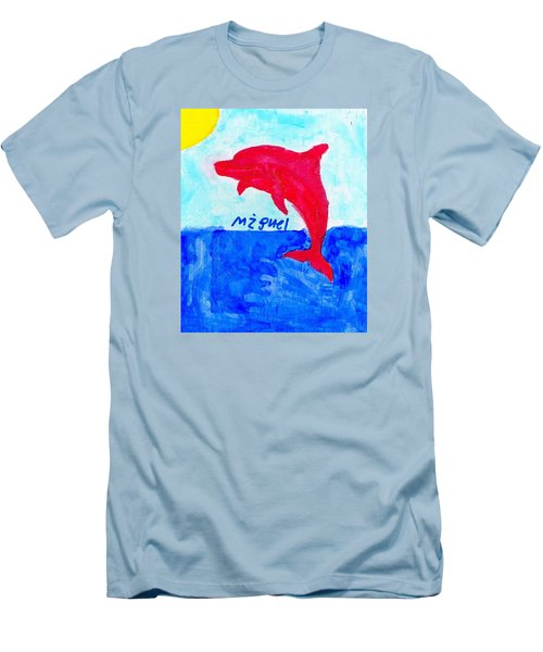 Red Dolphin Men's T-Shirt (Slim Fit) by Artists With Autism Inc