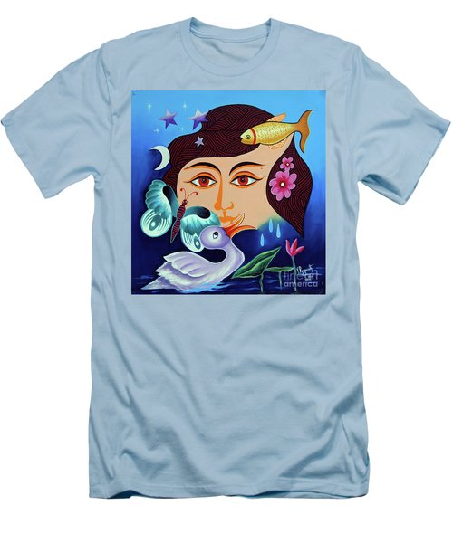 Men's T-Shirt (Slim Fit) featuring the painting Red-- Eyed by Ragunath Venkatraman