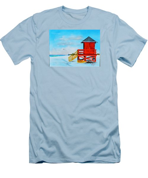 Red Life Guard Shack On The Key Men's T-Shirt (Slim Fit) by Lloyd Dobson
