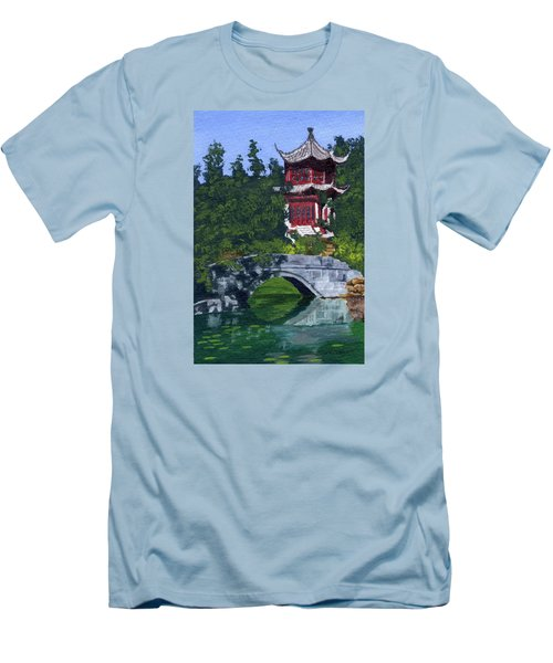 Men's T-Shirt (Slim Fit) featuring the painting Red Pagoda by Lynne Reichhart