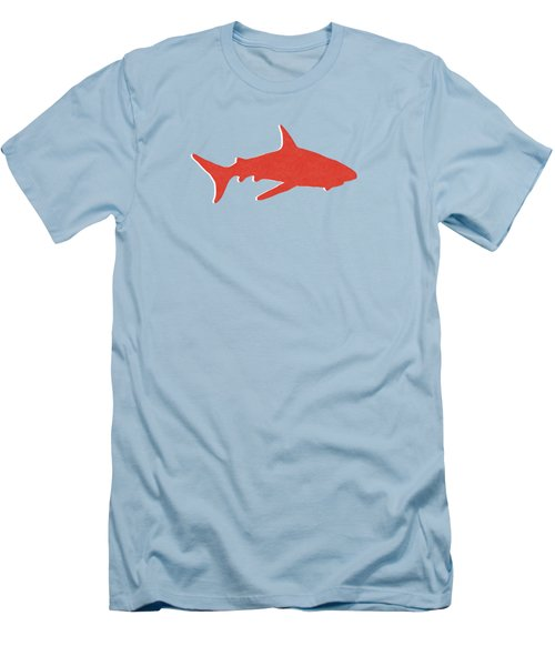 Men's T-Shirt (Slim Fit) featuring the mixed media Red Shark by Linda Woods