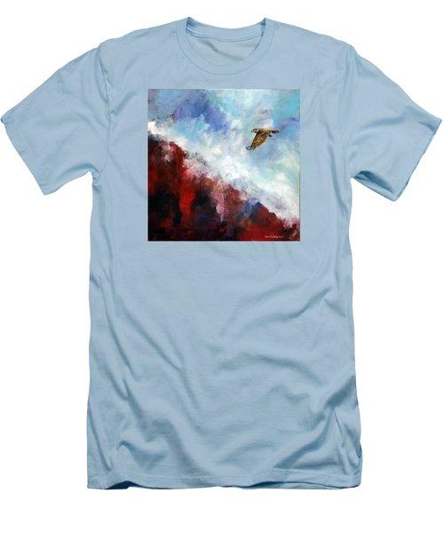 Red Tail Men's T-Shirt (Slim Fit) by David  Maynard