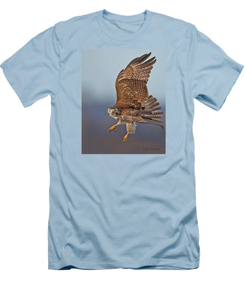 Red-tailed Hawk In Flight Men's T-Shirt (Slim Fit) by CR  Courson
