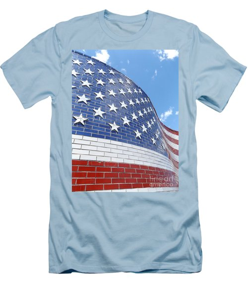 Red White And Blue Men's T-Shirt (Slim Fit) by Erick Schmidt
