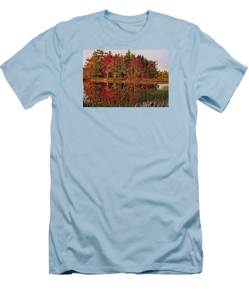 Men's T-Shirt (Slim Fit) featuring the photograph Reflection Island by Kathleen Sartoris