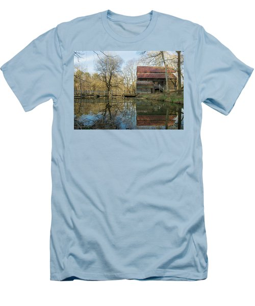 Reflection On A Grist Mill Men's T-Shirt (Slim Fit) by George Randy Bass
