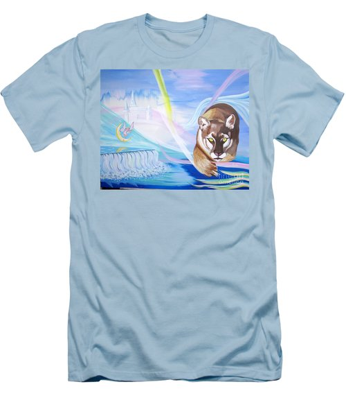 Men's T-Shirt (Slim Fit) featuring the painting Remembering Childhood Dreams by Phyllis Kaltenbach