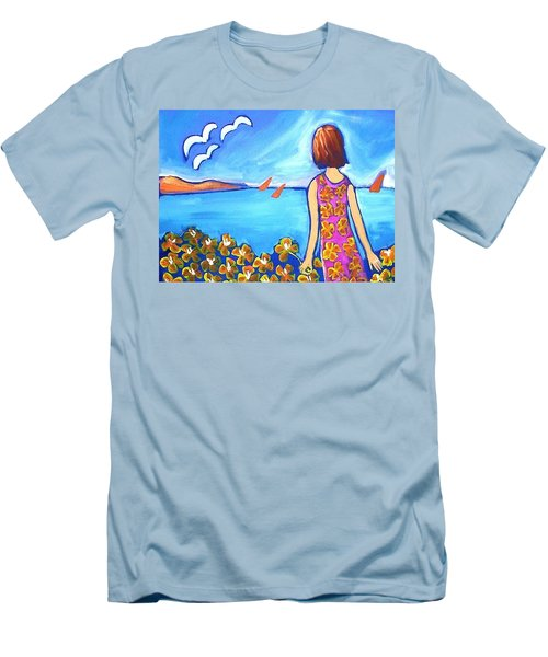 Men's T-Shirt (Slim Fit) featuring the painting Remembering Joy by Winsome Gunning