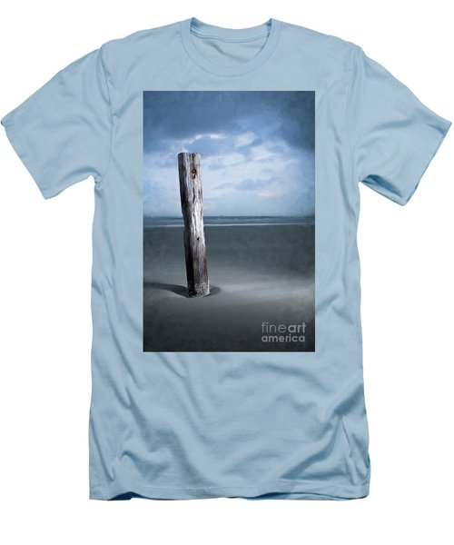 Men's T-Shirt (Slim Fit) featuring the painting Remnant Of The Past On Outer Banks Ap by Dan Carmichael