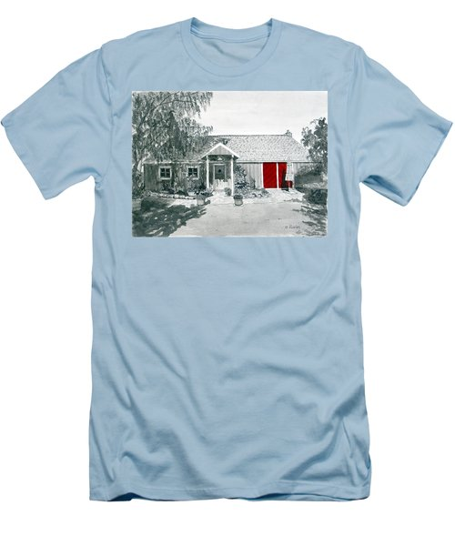 Retzlaff Winery With Red Door No. 2 Men's T-Shirt (Slim Fit) by Mike Robles