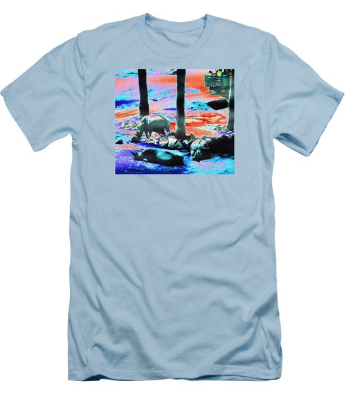 Rhinos Having A Picnic Men's T-Shirt (Slim Fit) by Abstract Angel Artist Stephen K