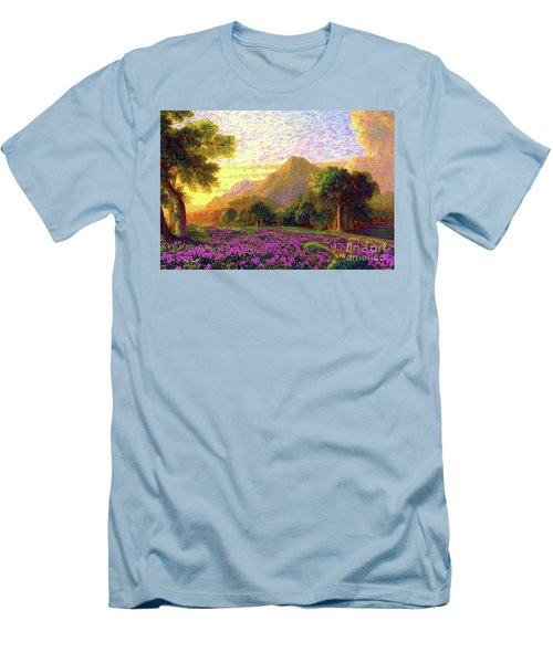 Men's T-Shirt (Slim Fit) featuring the painting Rhododendrons, Rabbits And Radiant Memories by Jane Small