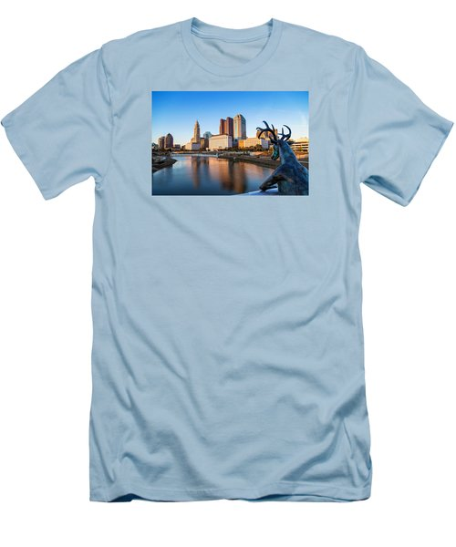 Men's T-Shirt (Slim Fit) featuring the photograph Rich Street Bridge Columbus by Alan Raasch