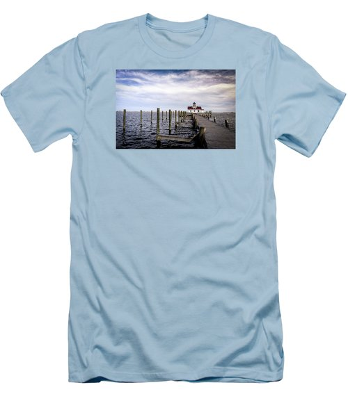 Roanoke Lighthouse - Manteo North Carolina Men's T-Shirt (Athletic Fit)