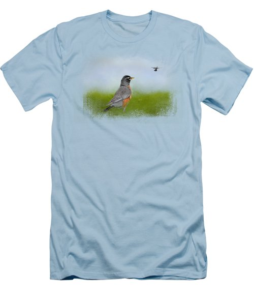 Robin In The Field Men's T-Shirt (Slim Fit) by Jai Johnson