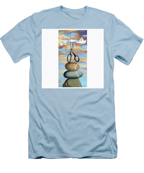 Men's T-Shirt (Slim Fit) featuring the painting Rock, Paper, Scissors by Linda Apple