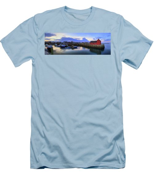 Men's T-Shirt (Slim Fit) featuring the photograph Rockport Harbor Sunset Panoramic With Motif No1 by Joann Vitali