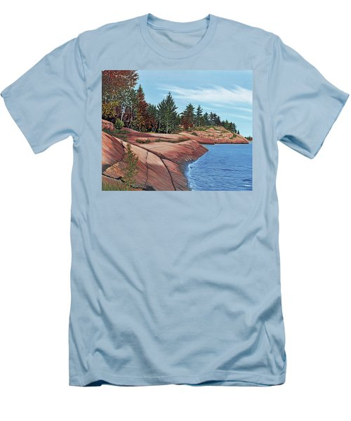 Men's T-Shirt (Slim Fit) featuring the painting Rocky River Shore by Kenneth M Kirsch