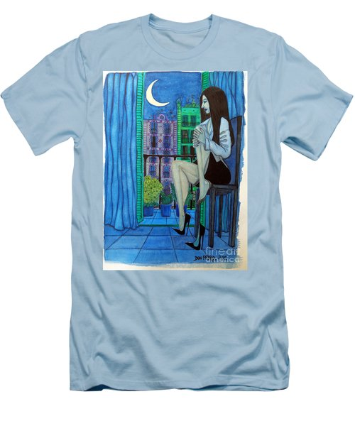 Men's T-Shirt (Slim Fit) featuring the painting Romantic Woman At Balcony by Don Pedro De Gracia