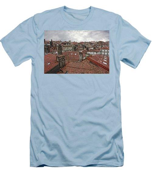 Roofs Over Santiago Men's T-Shirt (Slim Fit) by Angel Jesus De la Fuente