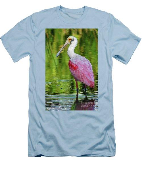 Roseate Spoonbill Portrait Men's T-Shirt (Slim Fit) by Larry Nieland
