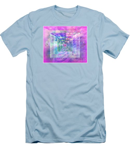 Men's T-Shirt (Slim Fit) featuring the digital art Roses Are Red Violets Are Blue These Roses Are Just For You by Sherri Of Palm Springs