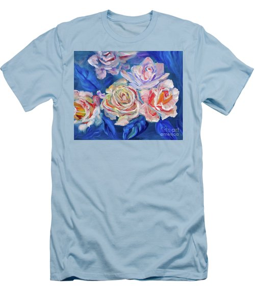Roses, Roses On Blue Men's T-Shirt (Athletic Fit)