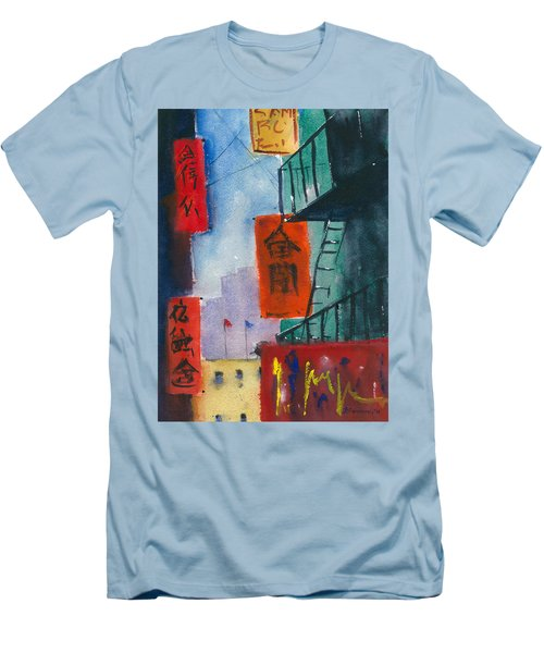 Ross Alley, Chinatown Men's T-Shirt (Slim Fit) by Tom Simmons