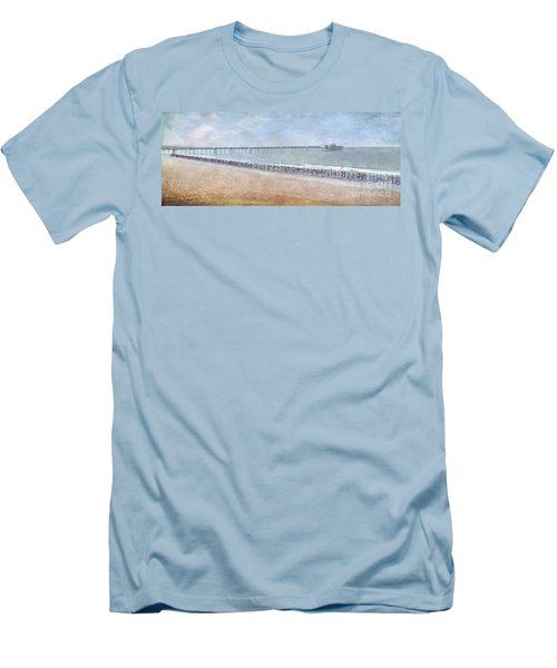 Men's T-Shirt (Slim Fit) featuring the photograph Runners On The Beach Panorama by David Zanzinger