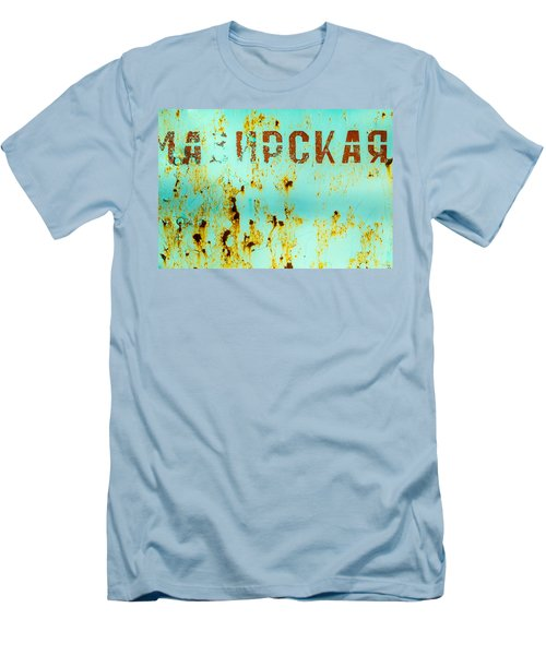 Men's T-Shirt (Slim Fit) featuring the photograph Rust On Metal Russian Letters by John Williams