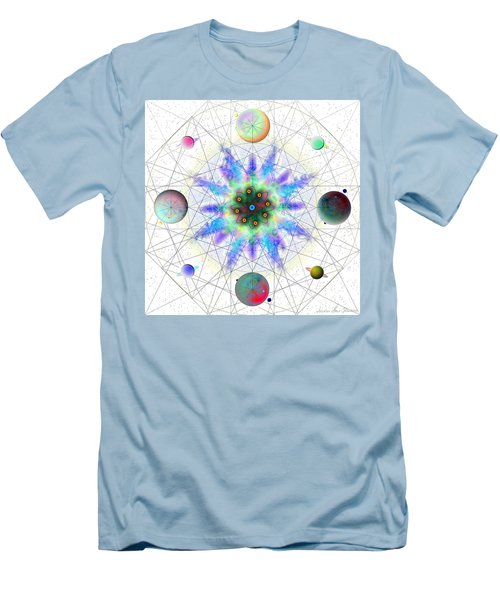Men's T-Shirt (Athletic Fit) featuring the digital art Sacred Planetary Geometry - Blue Atom Light by Iowan Stone-Flowers