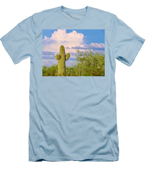Saguaro And Mesquite In Monsoon Season Men's T-Shirt (Athletic Fit)