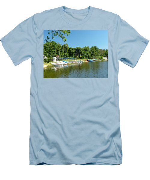 Sail Boats At Rest Men's T-Shirt (Slim Fit) by Donald C Morgan