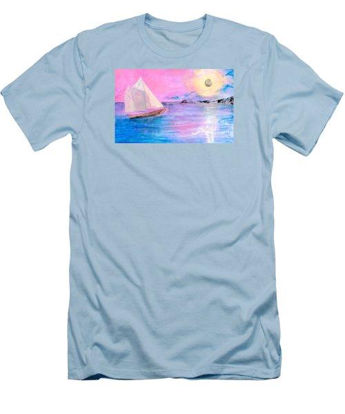 Sailboat In Pink Moonlight  Men's T-Shirt (Slim Fit) by Robin Maria Pedrero
