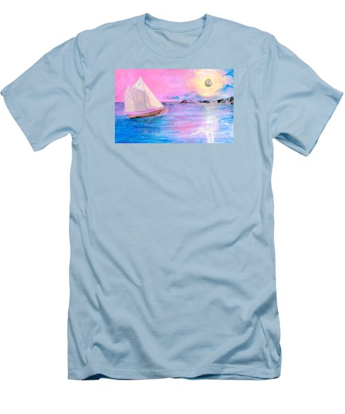 Sailboat In Pink Moonlight  Men's T-Shirt (Athletic Fit)