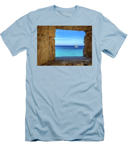 Sailboat Through The Old Stone Walls Of Rhodes, Greece Men's T-Shirt (Athletic Fit)
