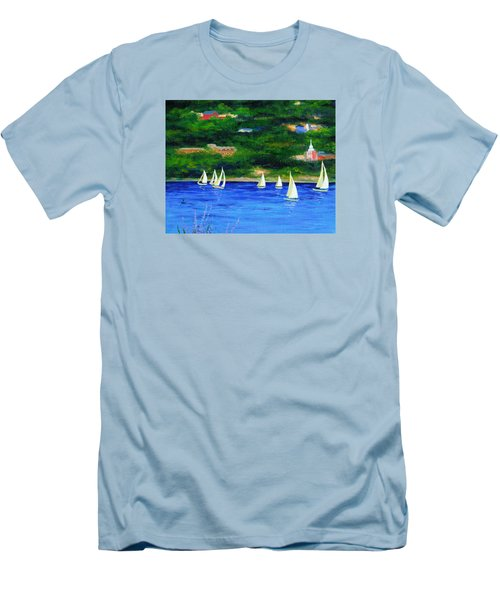Sailboats On Hudson Men's T-Shirt (Slim Fit) by Anne Marie Brown