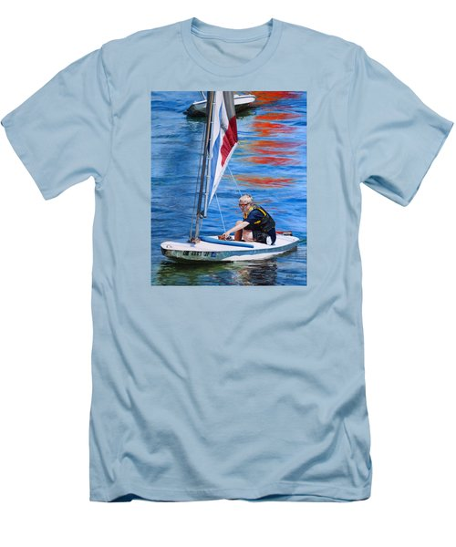 Men's T-Shirt (Slim Fit) featuring the painting Sailing On Lake Thunderbird by Joshua Martin