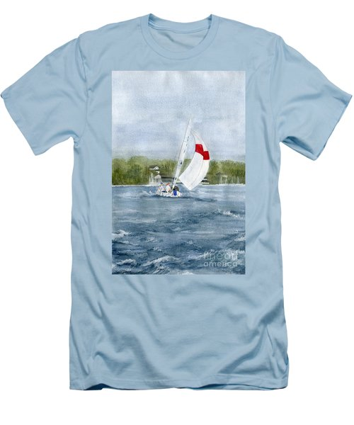 Men's T-Shirt (Slim Fit) featuring the painting Sailing On Niagara River by Melly Terpening