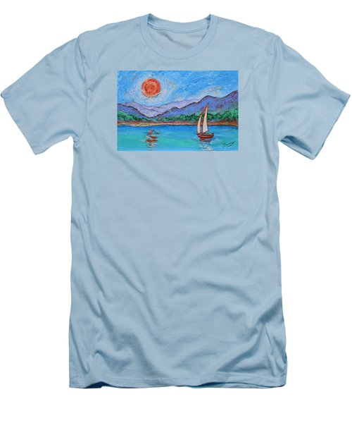 Men's T-Shirt (Athletic Fit) featuring the painting Sailing Red Sun by Xueling Zou