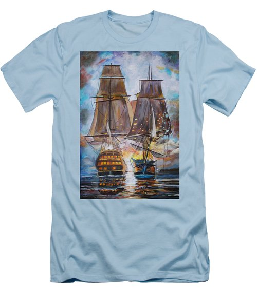 Sailing Ships At War. Men's T-Shirt (Athletic Fit)